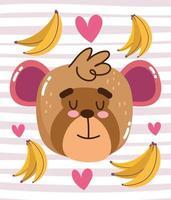 macaco fofo com bananas e corações vetor