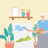 mulher idosa pintando dentro de casa vetor