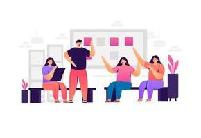 conceito de estratégia de marketing de trabalho em equipe de negócios vetor
