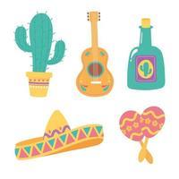 conjunto de ícones culturais mexicanos vetor