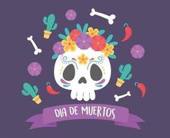 celebração do dia dos mortos com caveira de açúcar vetor