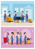 conjunto de grupo de trabalhadores de limpeza