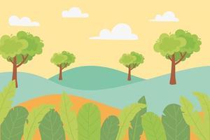 paisagem de colinas, árvores, folhas, folhagens e prados