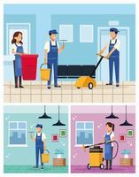 conjunto de trabalhadores da equipe de limpeza
