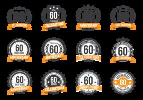 Celebração do aniversário Badges 60º Ano vetor