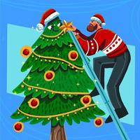 um homem decorando uma árvore de natal maravilhosa