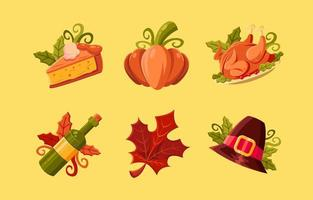 pacote de ícones para o Dia de Ação de Graças com cores atraentes vetor