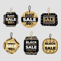 conjunto abstrato de etiquetas de venda sexta-feira negra vetor