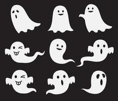 conjunto de fantasmas fofos de halloween vetor