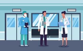 grupo de médicos e médicos na sala de espera vetor
