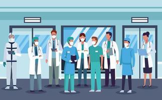 grande grupo de profissionais da área médica usando máscaras