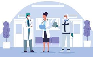três médicos em equipamento de proteção vetor