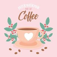 dia internacional do café. bebida, sementes frescas e folhas