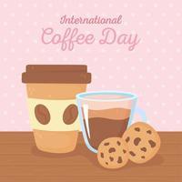 dia internacional do café. copo de papel para viagem e biscoitos