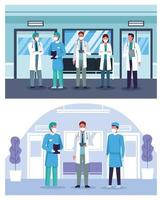 grupo de médicos em hospital usando máscaras vetor