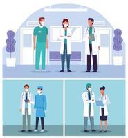 conjunto de médicos usando máscaras em cenas de hospital. vetor