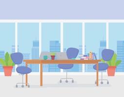 espaço de trabalho de escritório moderno vetor