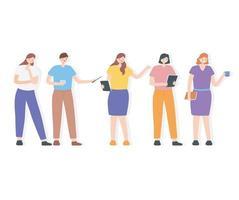 conjunto de trabalhadores modernos em diferentes poses vetor