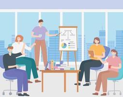 conceito de coworking com pessoas em uma apresentação de reunião vetor