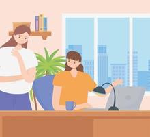 conceito de coworking com mulheres trabalhando juntas vetor