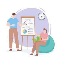 conceito de coworking com pessoas trabalhando juntas vetor