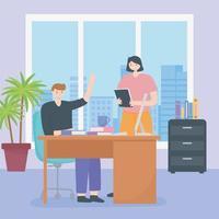 conceito de coworking com pessoas no mesmo espaço de trabalho vetor
