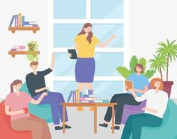 conceito de coworking com pessoas em uma reunião vetor
