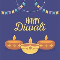 lâmpadas para celebração do festival das luzes de diwali vetor