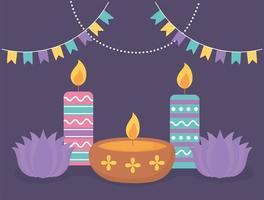 velas e flores de lótus para a celebração do diwali vetor