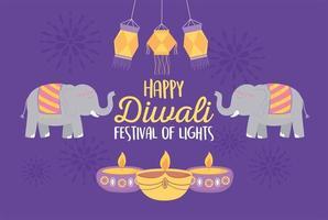 elefantes e lâmpadas para a celebração do festival diwali vetor