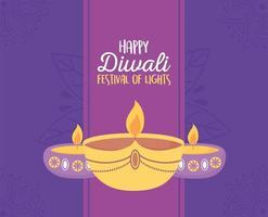 lâmpadas para banner de comemoração do festival de luzes de diwali vetor