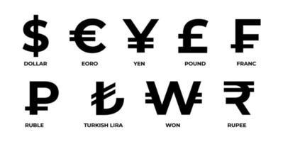 símbolos de moeda mundial mais usados vetor