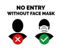 nenhuma entrada sem aviso de máscara facial vetor