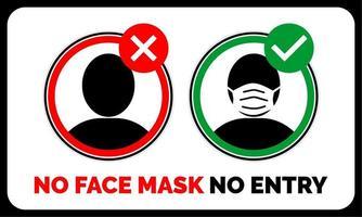 sem máscara facial, sem aviso de entrada vetor