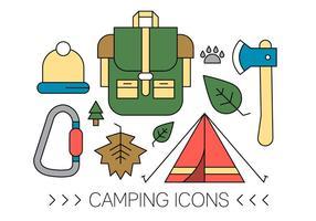 Ícones livre de acampamento vetor