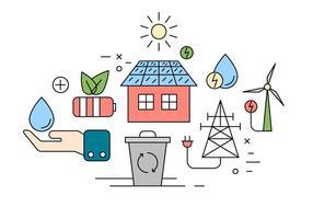 Ícones da energia livre de Eco vetor