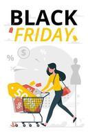 uma mulher vai às compras na sexta-feira negra vetor
