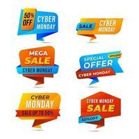etiquetas do cyber segunda-feira dobra de papel vetor