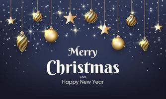 design de natal e ano novo com glitter dourado, enfeites vetor