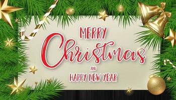 árvore de Natal e moldura de ornamento com caligrafia