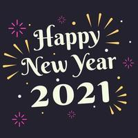 cartão de feliz ano novo 2021 com fogos de artifício