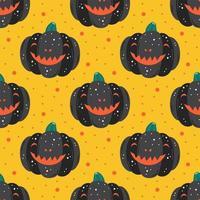 abóboras pretas assustadoras com padrão de sorriso