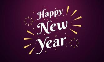 cartão de feliz ano novo com design brilhante de fogos de artifício