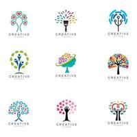 conjunto de logotipo de árvore criativa abstrata vetor