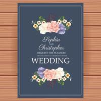 convite de casamento com decoração floral