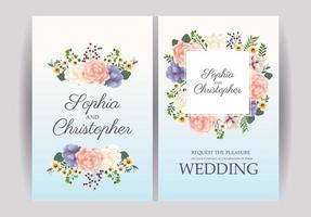 conjunto de convite de casamento floral pastel