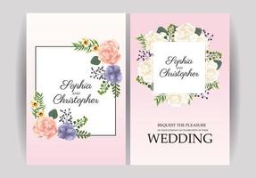 Conjunto de convite de casamento com moldura floral