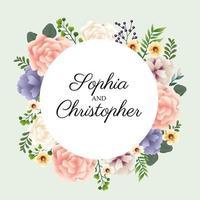 convite de casamento com moldura circular floral