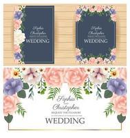 Conjunto de convite de casamento com moldura quadrada floral