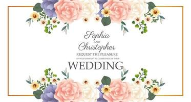 convite de casamento com moldura floral retangular